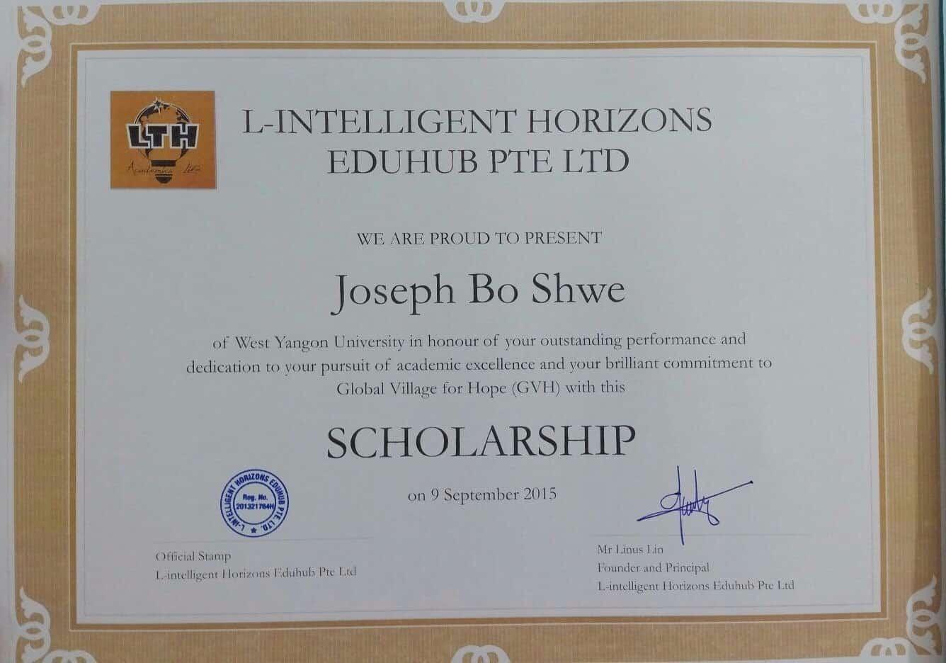 Scholarship Certificate Lth L Intelligent Horizons