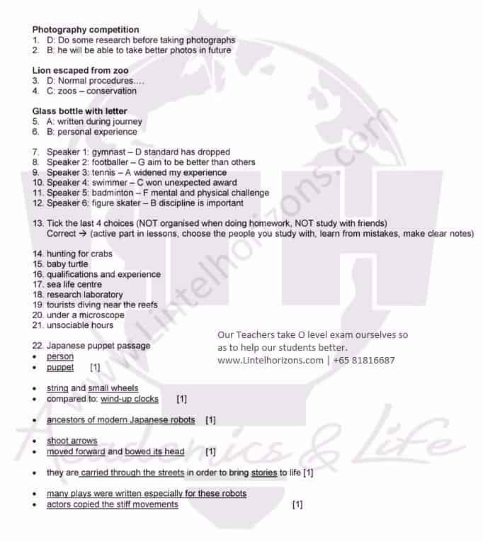 O Level 2015 English Listening Comprehension Suggested Answers – LTH